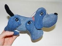 Выкройка милой джинсовой собаки