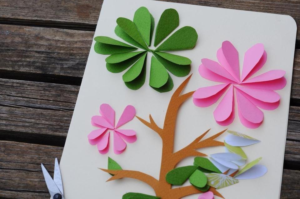 Объемные открытки на день рождения своими руками цветы из бумаги
