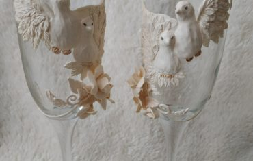 Свадебные бокалы с голубями своими руками