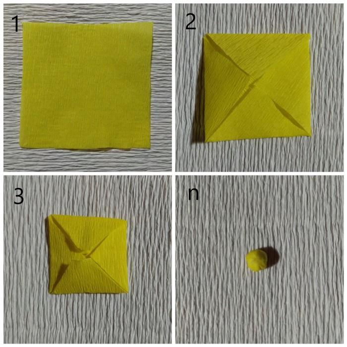 Сердцевина цветка из креповой бумаги