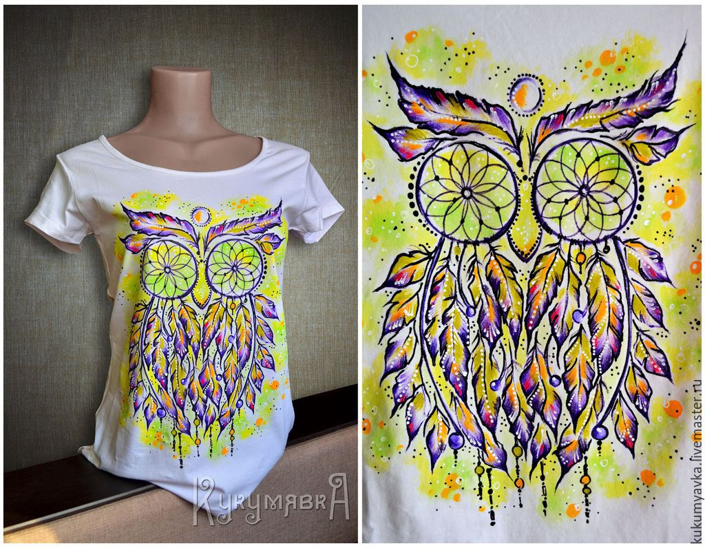 Сова акриловыми красками на футболке
