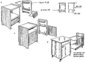 Схемы и чертежи тумбочек