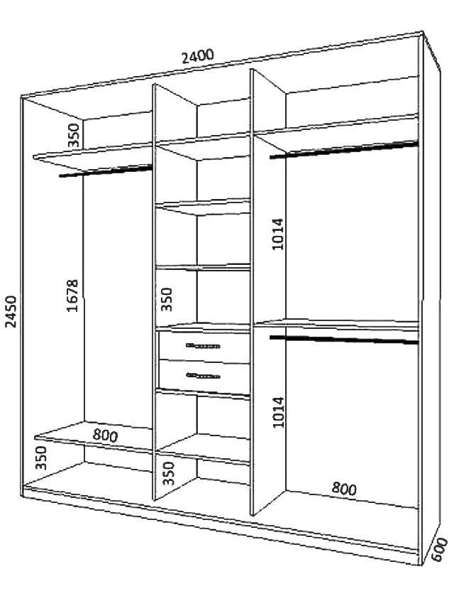 Чертежи встроенных шкаф-купе с размерами.