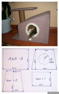 Чертеж дома для кота или кошки