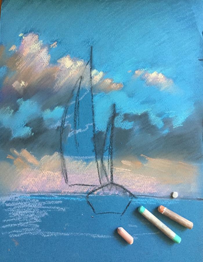 Рисуем парусник пастелью своими руками